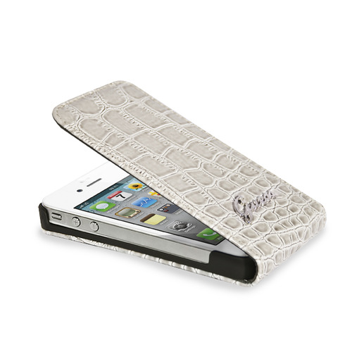 Housse flap etui coque protection guess croco beige apple for Housse iphone 6 guess